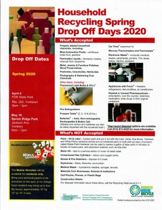 Household Recycling Spring Drop off days 2020